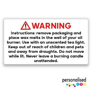 Wax Melt Warning Labels Rectangle Stickers Instructions Safety Law Requirements