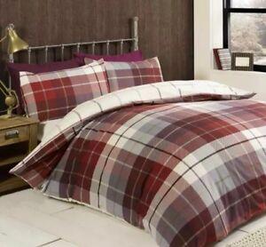 Lomond King Duvet Set 100% Brushed Cotton Flanelette Red