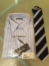 "Dolce & Gabbana Mens Formal Long Sleeve Shirt UK Size 15"" EU Size 38 + Tie"