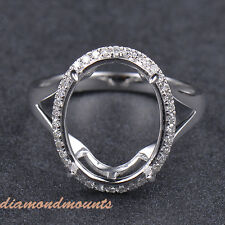 12x15mm Oval Cut Solid 14k White Gold  Natural Diamond Semi Mount Ring