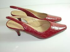 WOMENS RED SLINGBACK COMFORT PUMPS CAREER SANDALS HIGH HEELS SHOES SIZE 8 M