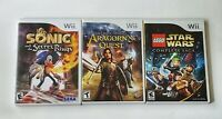 Lot of 3 Wii Games- Star Wars*Sonic and the secret rings* The lord of the rings