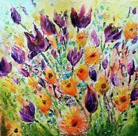 Bright Spring Flowers Tulips Impasto Oil Flowers Painting Forget Me Not Flower