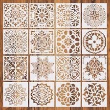 16pcs Reusable Stencil Cut Mandala Painting Template Floor Wall Tile Paint 6J