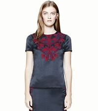 Tory Burch Tia Embroidered Satin Navy Blue Top size 6 NWT $495