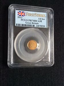 RARE 2012 1/4 Proof Gold Sovereign Coin - PCGS PR70 DCAM First Strike (24078520)