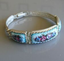 Bracelet Rostov Finift & Filigree Green Blue Floral Pattern, Russian Gift