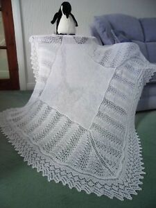 """STUNNING NEW 2 PLY HAND KNITTED SQUARE BABY SHAWL 52"""" SQ. SUPER SOFT.WHITE"""