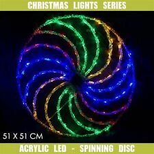 Christmas LED Motif Light Acrylic Spinning Disc 51x51cm Indoor Outdoor Display