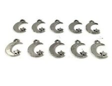 Pendant 10 Moon Star Small Jewellery Making New 10pk Silver Coloured Alloy