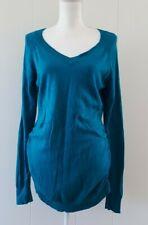 Motherhood Maternity Tunic Sweater Large Teal Blue Long Sleeve VNeck Lightweight