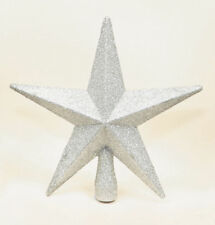 WHITE Christmas Tree Top Star Topper Glitter finish 20cm star for top of tree