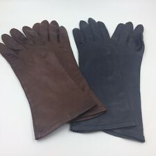 Vintage womens gloves leather kid size 7.5 lot of 2 brown navy made Italy