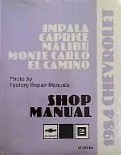 1984 CHEVROLET IMPALA CAPRICE MALIBU MONTE CARLO EL CAMINO SHOP MANUEL 2 VOLUMES