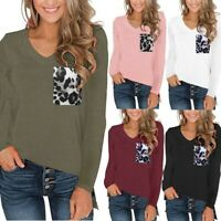 Women's Leopard Pocket Tops Long Sleeves V Neck T Shirt Autumn Casual Basic Tees
