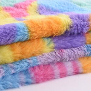 Rainbow Rabbit Faux Fur Fabric Leopard Tie-dye Plush Patchwork Pillow Sewing DIY