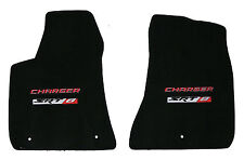 LLOYD Ebony Velourtex™ FRONT FLOOR MATS with logos 2012-2014 Dodge Charger SRT-8