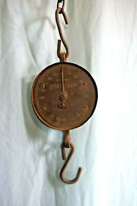 antique cotton scale hanging  200 lb capacity works