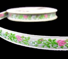 """4 Yds Tiny Pink Rose Roses Embroidered Woven Jacquard Ribbon Trim 3/8""""W"""