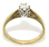 Ladies/womens, 9carat/9ct gold engagement ring with a solitaire diamond, Size L.
