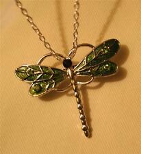 Sparkly Green Enamel Rhinestones Dragonfly Pendant Silvertone Necklace Brooch