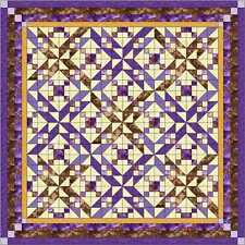 Easy Quilt Kit/Winding Roads/RJR Purple and Brown/Pre-cut Fabrics Ready To Sew!