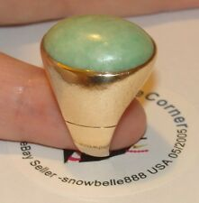 WOW! HEAVY Estate 14K SOLID YGold 12ct CABOCHON NATURAL JADE  Ring 13Grams Sze 8