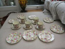 Antique pretty Chintz teaset Brexton china England 5 cups/6 saucers/7 plates
