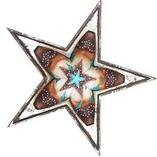 "17"" STAR BOOTS BARN WOOD WALL ART RUSTIC ART WESTERN HOME DECOR RUSTY ART"