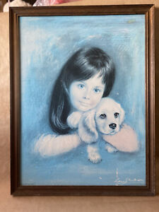 "Vintage MCM Retro 1960's Reproduction Framed Print Louis Shabner  ""Puppy Love"""