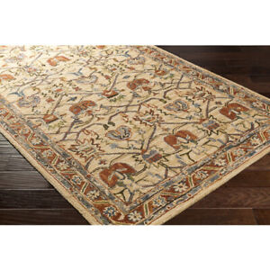 Arts & Crafts William Morris Style Hand Hooked Wool Area Rug **FREE SHIPPING**