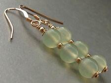 Beautiful Round Green Jade Gemstones 14ct Rolled Gold Drop Earrings