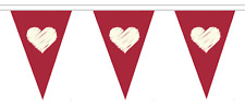 Valentine's Day Polyester Bunting - 5m with 12 Flags - White Hearts