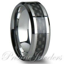 Tungsten Carbide Black Carbon Fiber Ring Silver Mens Engagement Wedding Band NEW