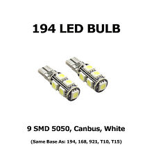 (2) 194 LED Bulbs - 9 SMD 5050, Canbus, White - Same Base as 168, 921, T10, T15