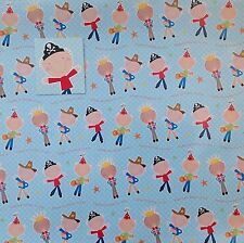 2 Sheets Wrapping Paper & Matching Tag PIRATE COWBOY Happy Birthday Boy Blue