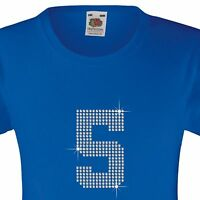 """Girl's T-Shirt (12 Colour options) Rhinestone """"Number 1 to 9 (Any 1)"""" 3-15 Yrs"""