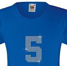 """GIRL's T-Shirt (12 COLORI Opzioni) con strass """"numero 1 a 9 (1)"""" 3-15 anni"""