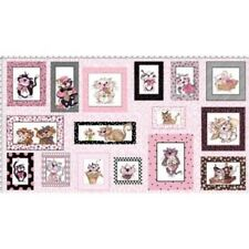 """Loralie Fancy Cats 948 Panel 24""""Cotton Fabric FREE US SHIPPING"""