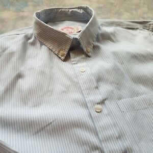 Brook Brothers Sz XL (17.5-37)  Blue University Striped Button Down Men's Shirt