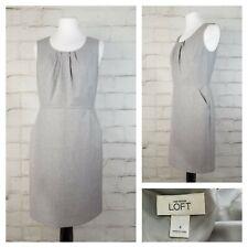 Ann Taylor Loft Sz 4 Sleeveless Knee Length Sheath Dress Light Gray with Pockets