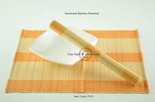 4 Bamboo manteles, tapetes de mesa hecha a mano, Naranja-Crema (marrón claro), P010