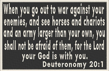 DEUTERONOMY 20:1 Iron-On Patch Christian Morale Military Emblem