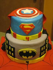 ONE Custom Edible Superhero Symbol 3D Cake Toppers Batman Superman Marvel DC