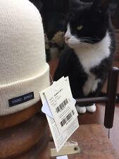 Saint James Sailors Hat in cream 1x1 rib knit 100% Wool Bonnets Unis A in cream