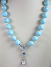 Statement Shell Blue Quartz & Pearl Necklace & Earring Set Sterling Wedding