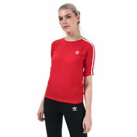 Womens adidas Originals 3-Stripes T-Shirt In Red