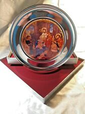 """Us Historical Society """"St. Paul's San Francisco"""" Stained Glass-Pewter Plate"""