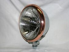 "Chrome Plated 5-3/4"" Headlight with Copper Plated Trim Ring; Chopper, Bobber,"