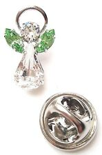 Elements Birthstone Guardian Angel Pin August Peridot with Swarovski Crystals